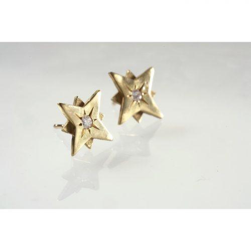 עגילי כוכב צמודים זהב עגילים צמודים זהב ויהלומים