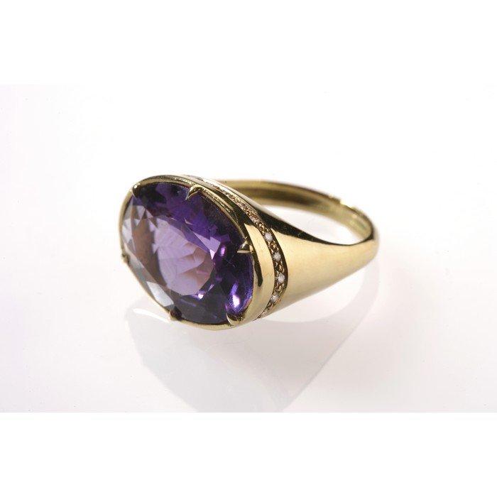 טבעת זהב ואמטיסט