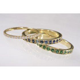 טבעת אירוסין אמרלד וספיר