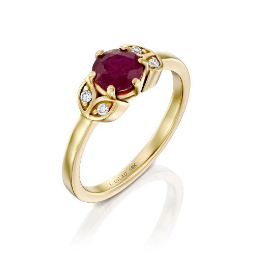 טבעת אירוסין אבן רובי