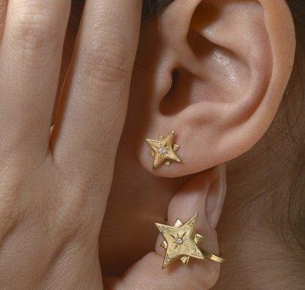 עגילי כוכב עם יהלום