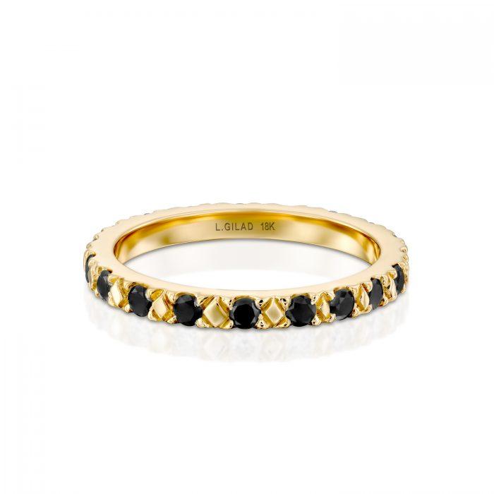 טבעת זהב ויהלומים שחורים