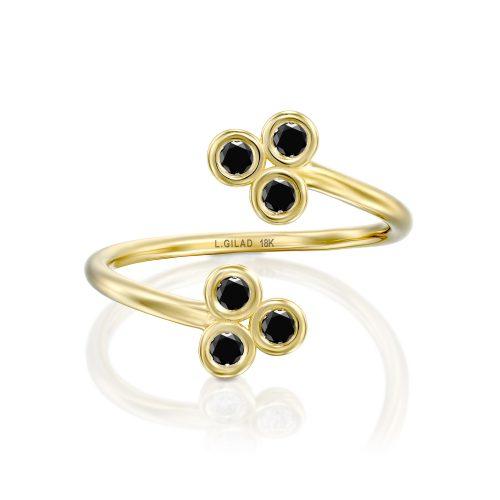 טבעת מעוצבת יהלומים שחורים