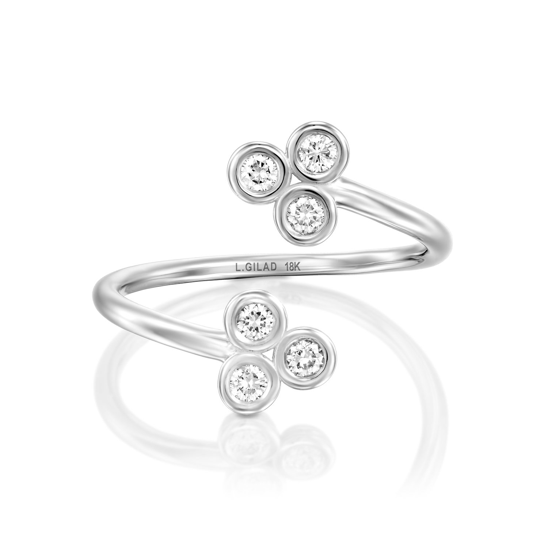טבעת זהב לבן ויהלומים