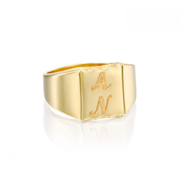 טבעת זרת עם חריטה