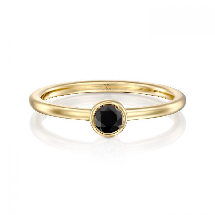 טבעת זהב ויהלום שחור