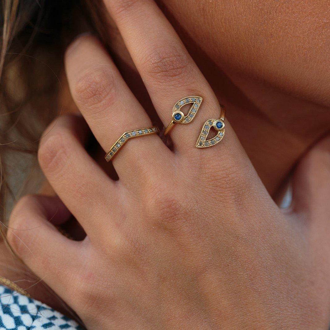 טבעת זהב עם טיפות
