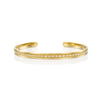 צמיד זהב רחב עם יהלומים