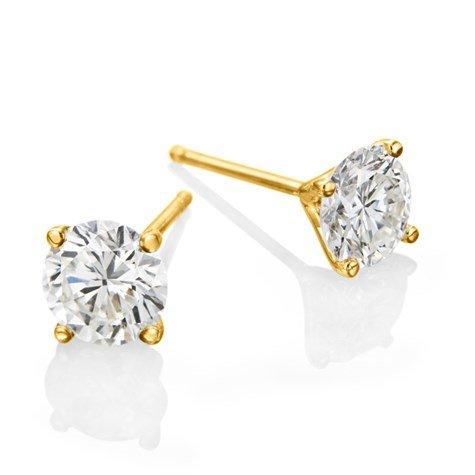 עגילי יהלומים זהב צהוב