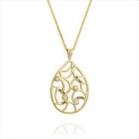 שרשרת זהב עם חריטות ויהלומים