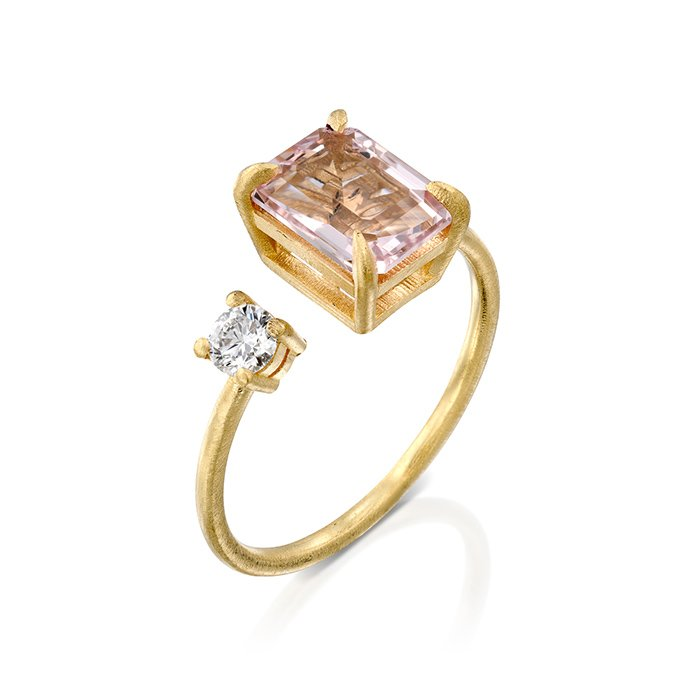 טבעת קוקטייל אבן מורגנייט ויהלום